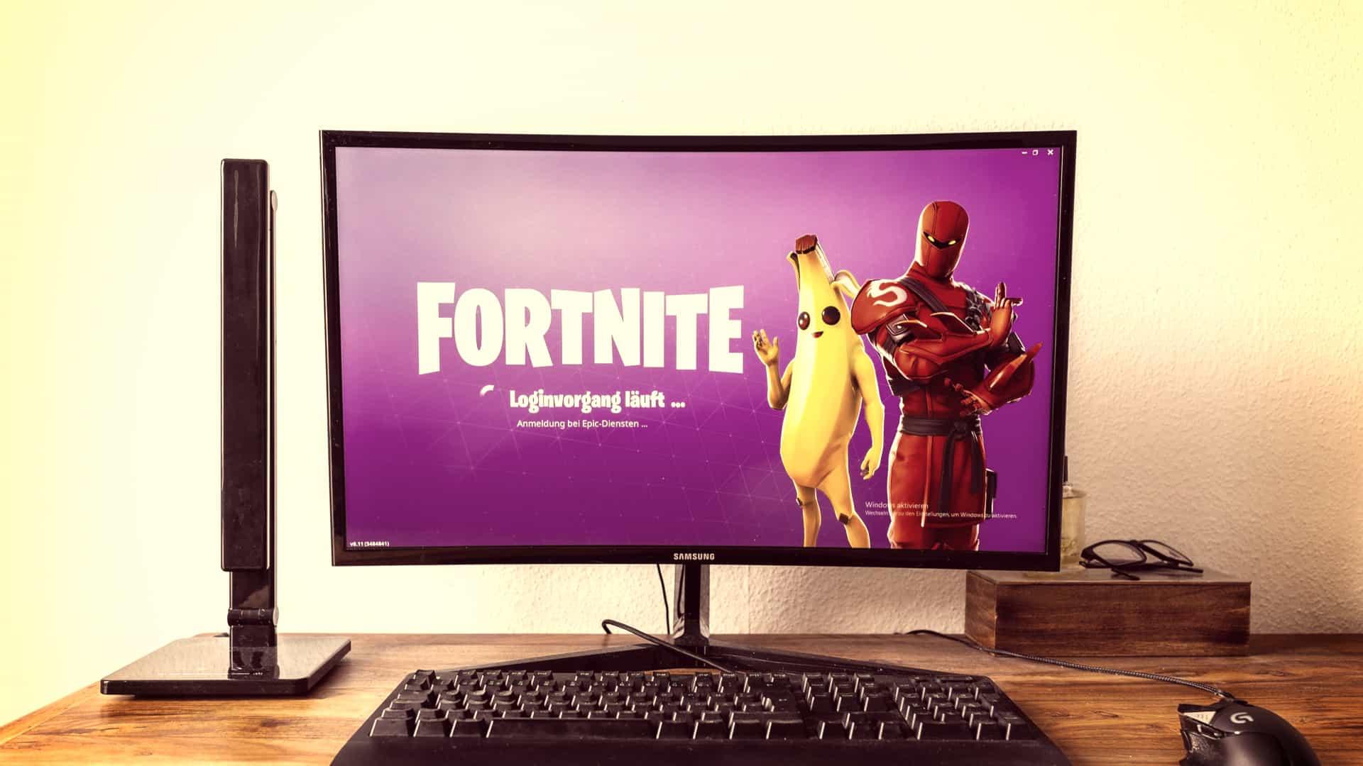 En computer skærm med Fortnite spillet